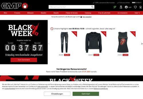 EMP Fanartikel & Rockshop Merchandise für Band & Filmfans