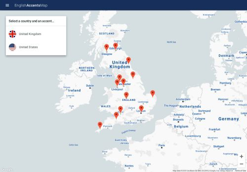 Videos mit englischen Akzenten ansehen - Karte mit englischen Akzenten