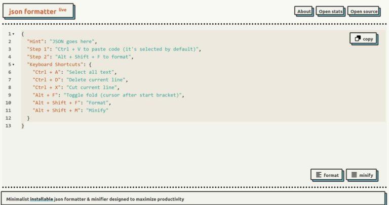 json formatter live / minimalist formatter & minifier